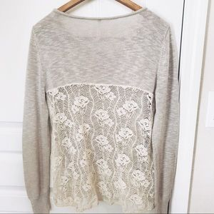 POOF! | Lace back Taupe Sweater | Medium